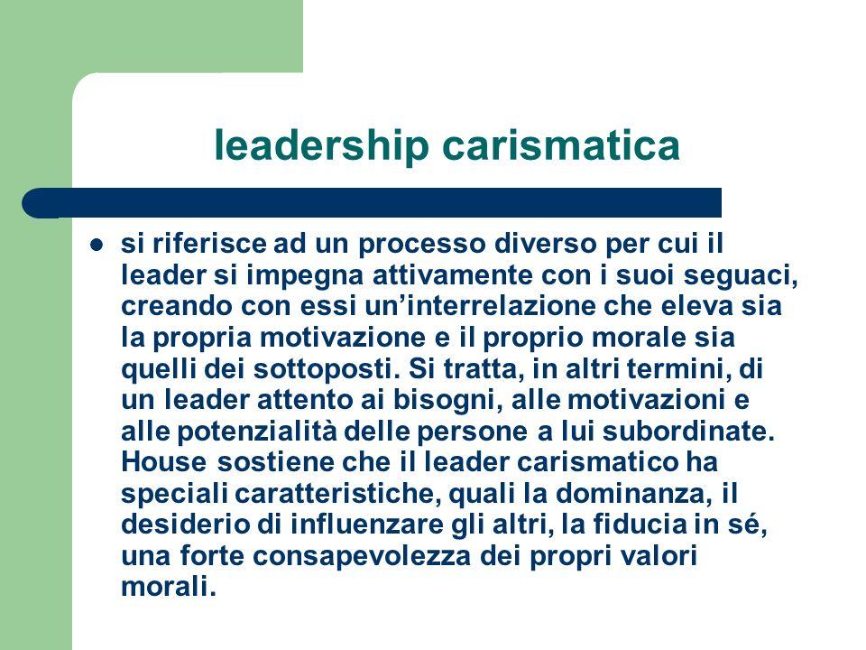 leadership carismatica si riferisce ad un processo diverso per cui il leader si impegna attivamente con i suoi seguaci, creando con essi uninterrelazi