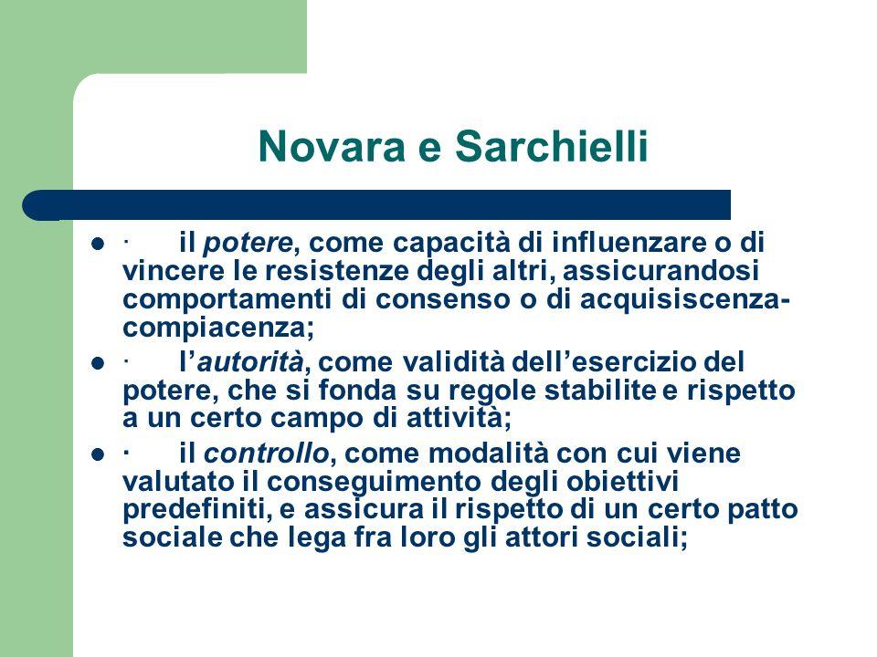 Novara e Sarchielli · il potere, come capacità di influenzare o di vincere le resistenze degli altri, assicurandosi comportamenti di consenso o di acq