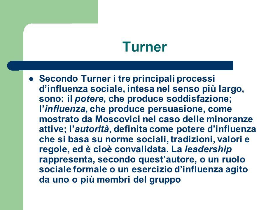 Turner Secondo Turner i tre principali processi dinfluenza sociale, intesa nel senso più largo, sono: il potere, che produce soddisfazione; linfluenza