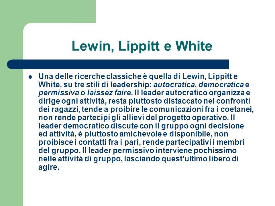 Lewin, Lippitt e White Una delle ricerche classiche è quella di Lewin, Lippitt e White, su tre stili di leadership: autocratica, democratica e permiss