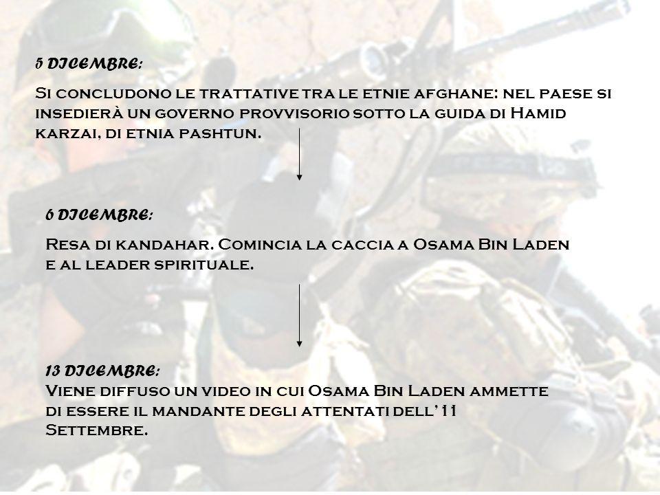 5 DICEMBRE: Si concludono le trattative tra le etnie afghane: nel paese si insedierà un governo provvisorio sotto la guida di Hamid karzai, di etnia p