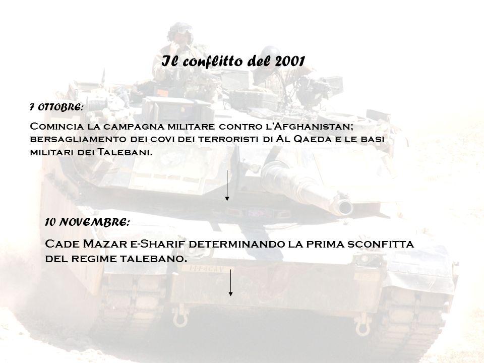 Il conflitto del 2001 7 OTTOBRE: Comincia la campagna militare contro lAfghanistan; bersagliamento dei covi dei terroristi di Al Qaeda e le basi milit