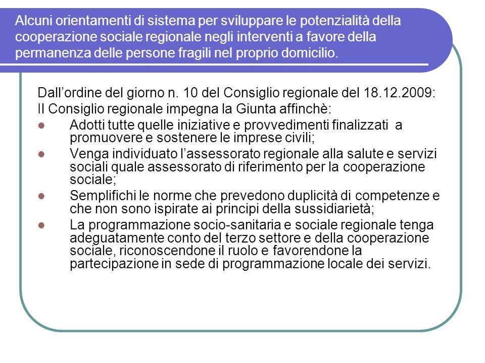Alcuni orientamenti di sistema per sviluppare le potenzialità della cooperazione sociale regionale negli interventi a favore della permanenza delle persone fragili nel proprio domicilio.
