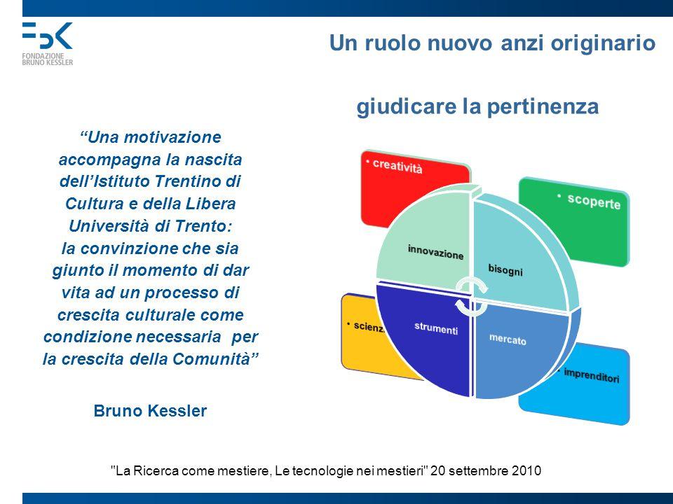 Un ruolo nuovo anzi originario Una motivazione accompagna la nascita dellIstituto Trentino di Cultura e della Libera Università di Trento: la convinzi