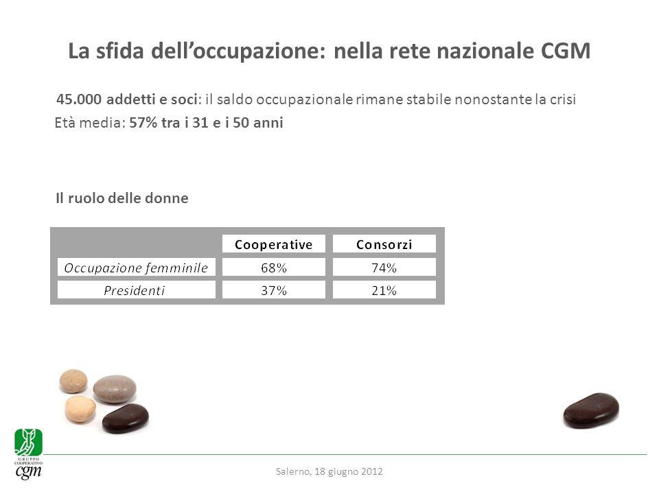 La sfida delloccupazione: nella rete nazionale CGM 45.000 addetti e soci: il saldo occupazionale rimane stabile nonostante la crisi Età media: 57% tra i 31 e i 50 anni Il ruolo delle donne Salerno, 18 giugno 2012
