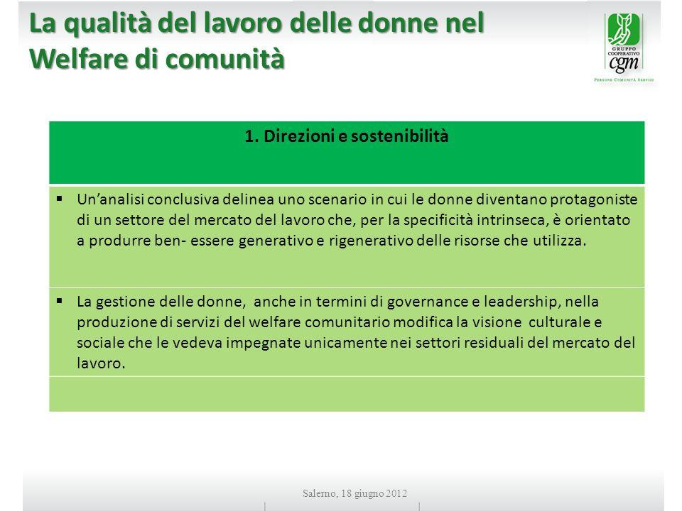 La qualità del lavoro delle donne nel Welfare di comunità 1.