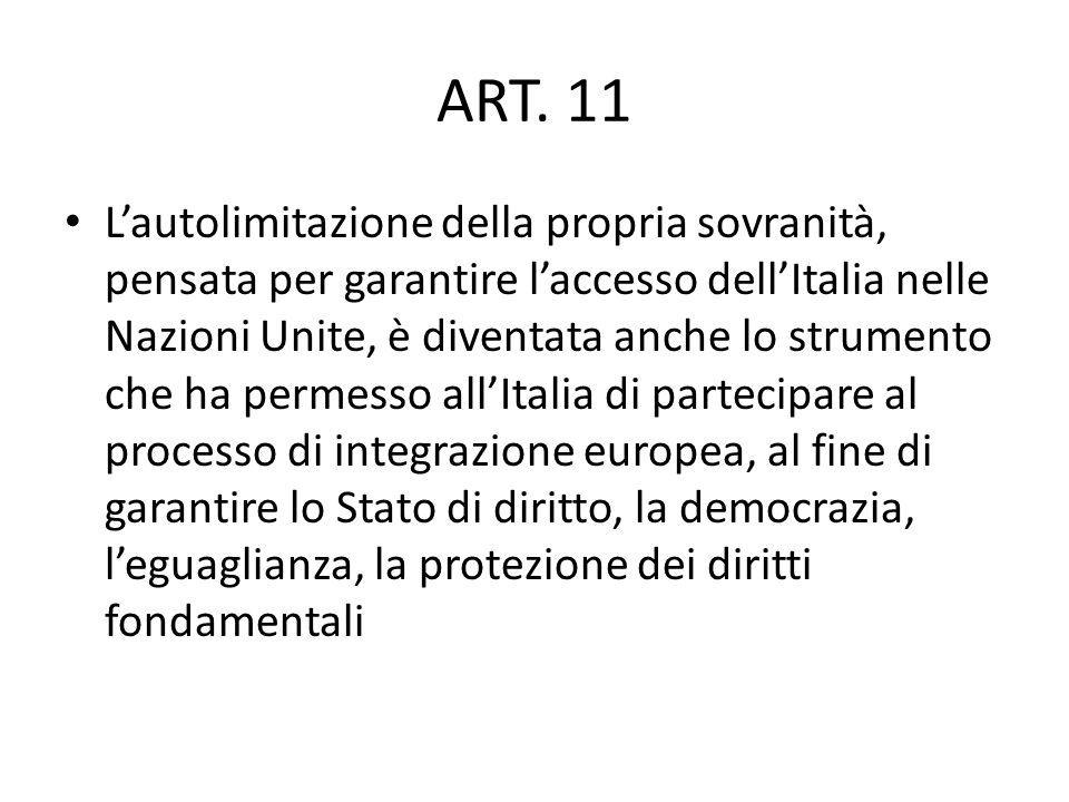 Gli strumentI per la risoluzione delle controversie: PACE GIUSTIZIA SOLIDARIETA … anche attraverso la cessione di pezzi della propria sovranità ART.