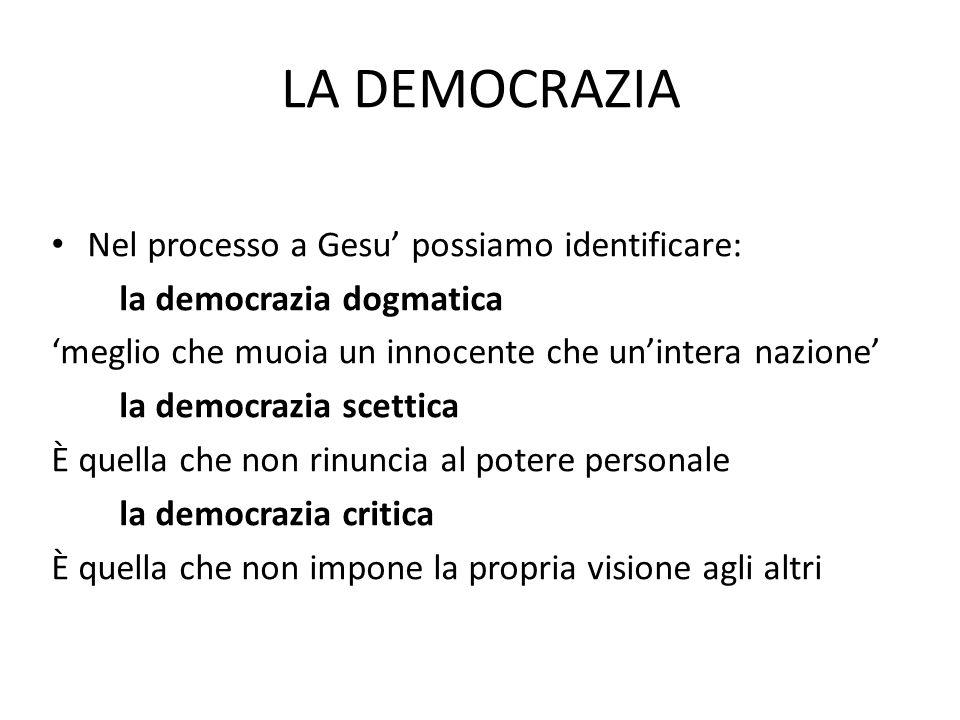 LA DEMOCRAZIA Nel processo a Gesu possiamo identificare: la democrazia dogmatica meglio che muoia un innocente che unintera nazione la democrazia scettica È quella che non rinuncia al potere personale la democrazia critica È quella che non impone la propria visione agli altri