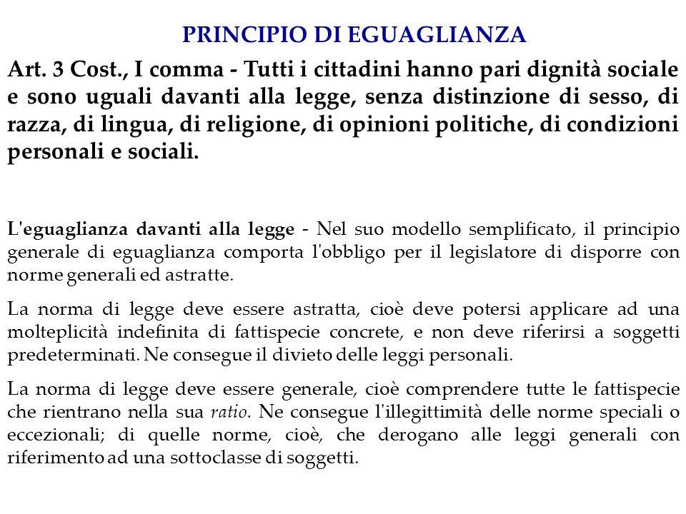 ARTICOLO 3 Tutti i cittadini hanno pari dignit à sociale e sono eguali davanti alla legge, senza distinzione di sesso, di razza, di lingua, di religione, di opinioni politiche, di condizioni personali e sociali.