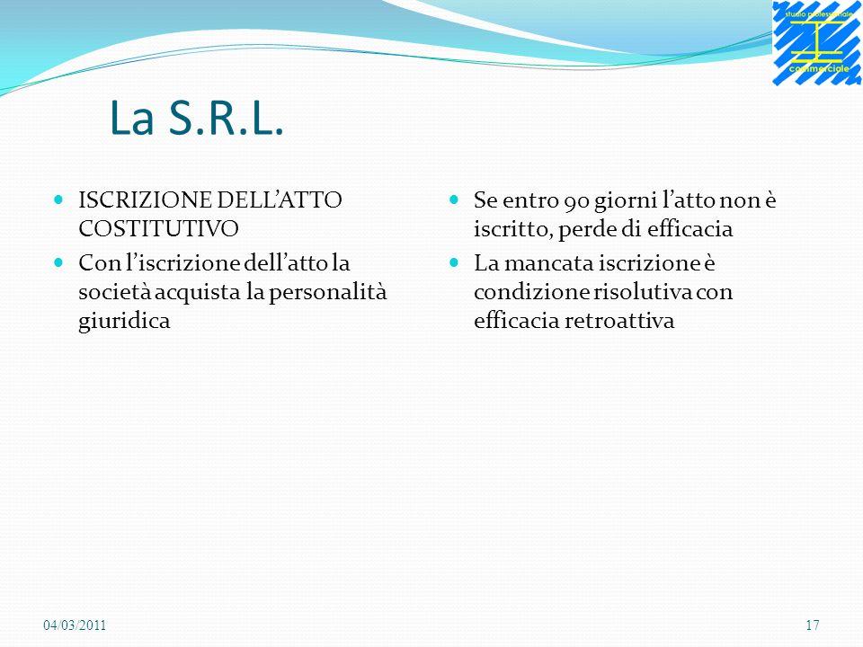 La S.R.L. ISCRIZIONE DELLATTO COSTITUTIVO Con liscrizione dellatto la società acquista la personalità giuridica Se entro 90 giorni latto non è iscritt
