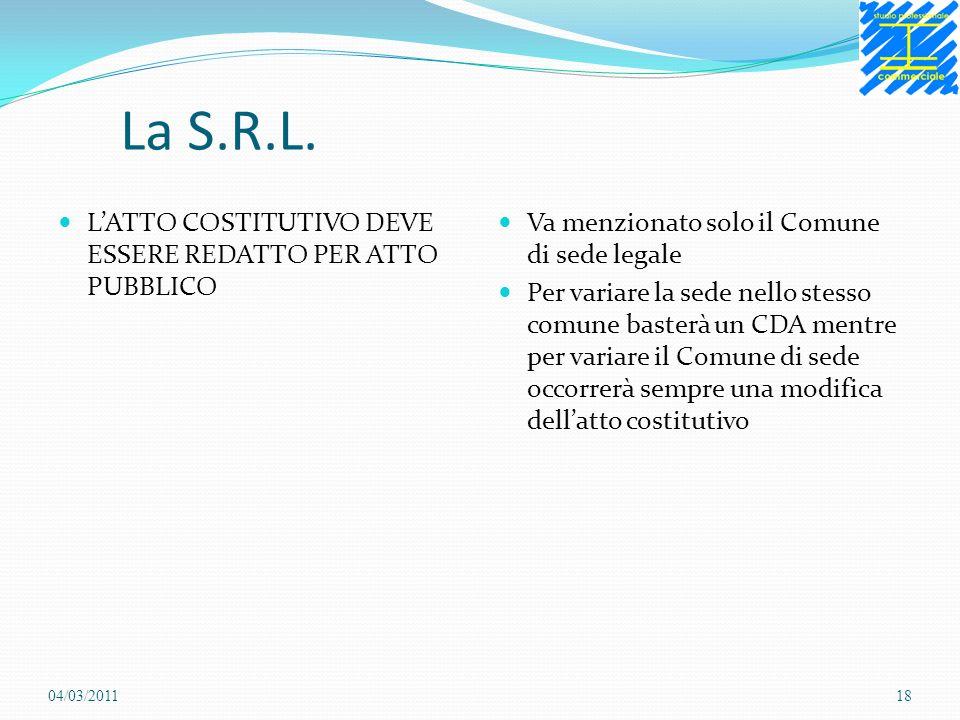 La S.R.L. LATTO COSTITUTIVO DEVE ESSERE REDATTO PER ATTO PUBBLICO Va menzionato solo il Comune di sede legale Per variare la sede nello stesso comune