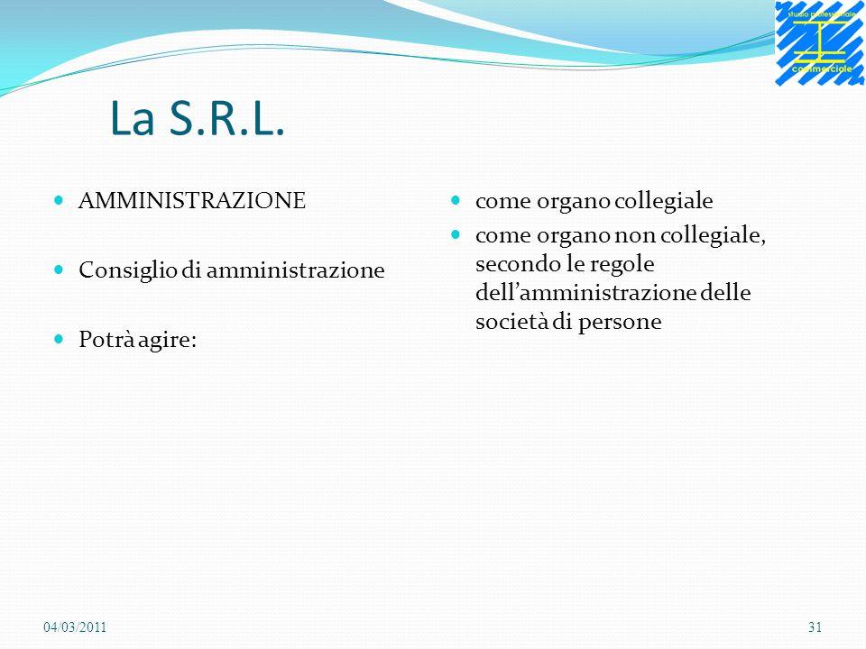 La S.R.L. AMMINISTRAZIONE Consiglio di amministrazione Potrà agire: come organo collegiale come organo non collegiale, secondo le regole dellamministr
