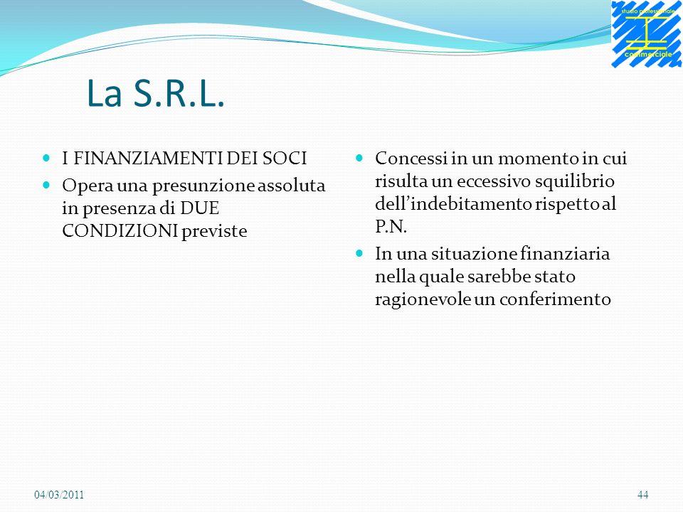 La S.R.L. I FINANZIAMENTI DEI SOCI Opera una presunzione assoluta in presenza di DUE CONDIZIONI previste Concessi in un momento in cui risulta un ecce