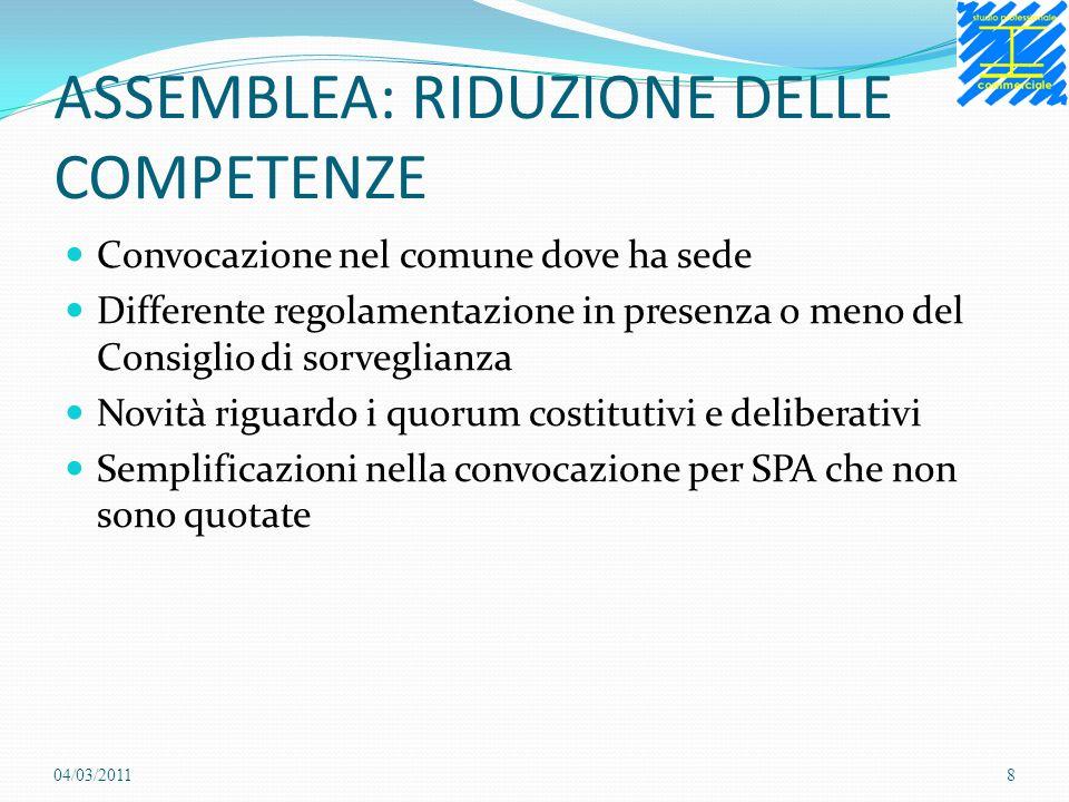 ASSEMBLEA: RIDUZIONE DELLE COMPETENZE Convocazione nel comune dove ha sede Differente regolamentazione in presenza o meno del Consiglio di sorveglianz