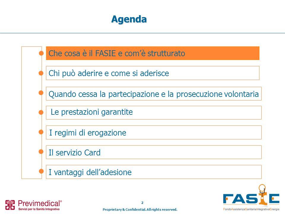 Proprietary & Confidential. All rights reserved. 2 Che cosa è il FASIE e comè strutturato Agenda Chi può aderire e come si aderisce Il servizio Card I