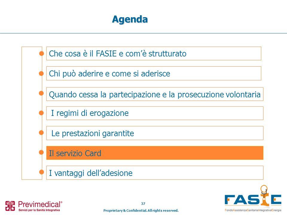 Proprietary & Confidential. All rights reserved. 37 Che cosa è il FASIE e comè strutturato Agenda Chi può aderire e come si aderisce Il servizio Card