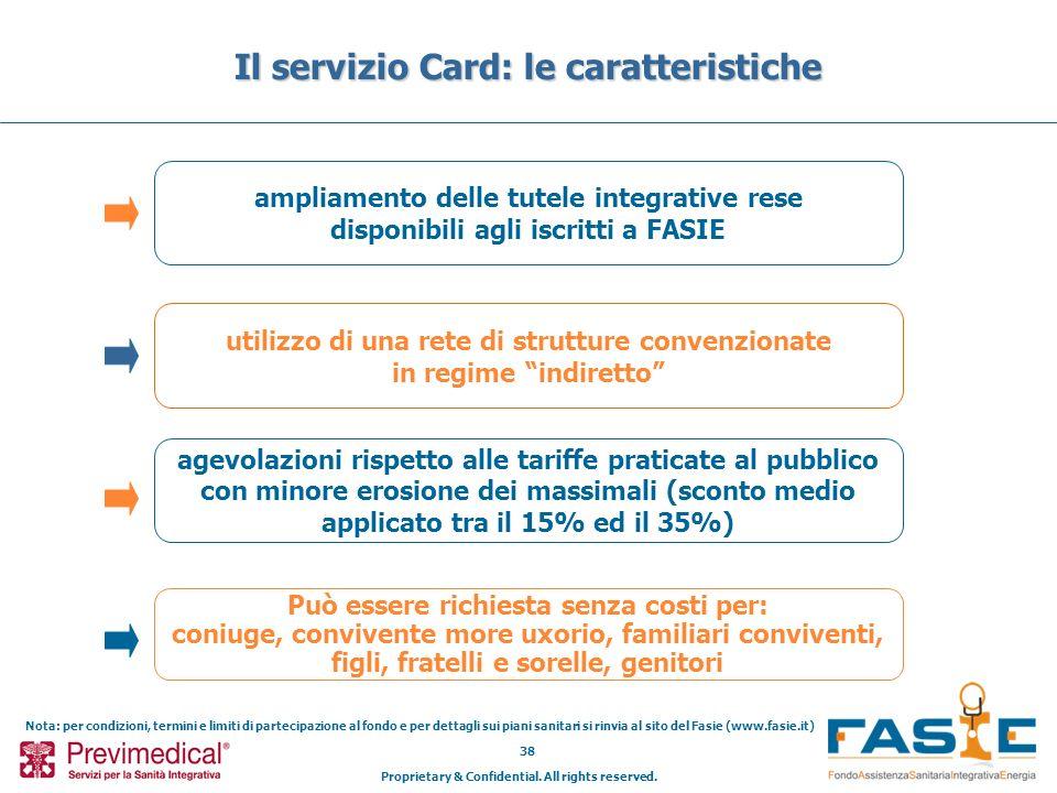Proprietary & Confidential. All rights reserved. 38 Il servizio Card: le caratteristiche ampliamento delle tutele integrative rese disponibili agli is