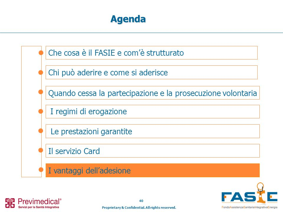 Proprietary & Confidential. All rights reserved. 40 Che cosa è il FASIE e comè strutturato Agenda Chi può aderire e come si aderisce Il servizio Card