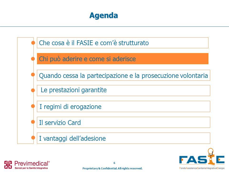 Proprietary & Confidential. All rights reserved. 6 Che cosa è il FASIE e comè strutturato Agenda Chi può aderire e come si aderisce Il servizio Card I