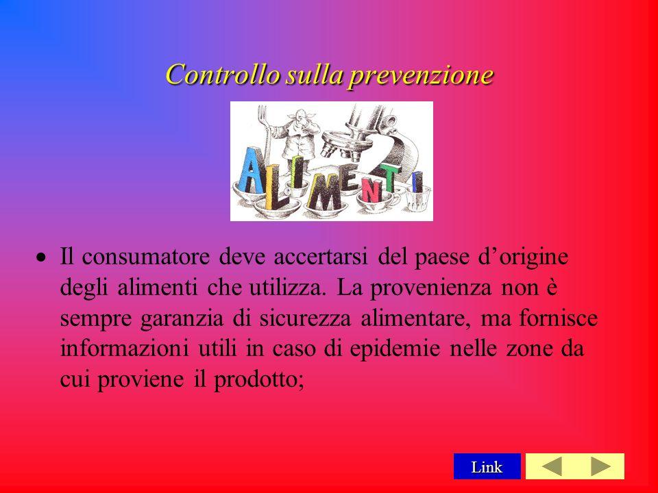 Controllo sulla prevenzione Il consumatore deve accertarsi del paese dorigine degli alimenti che utilizza.