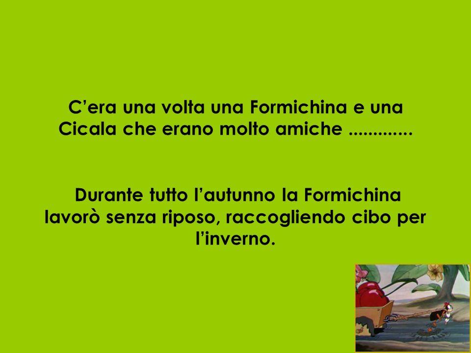 Cera una volta una Formichina e una Cicala che erano molto amiche............. Durante tutto lautunno la Formichina lavorò senza riposo, raccogliendo