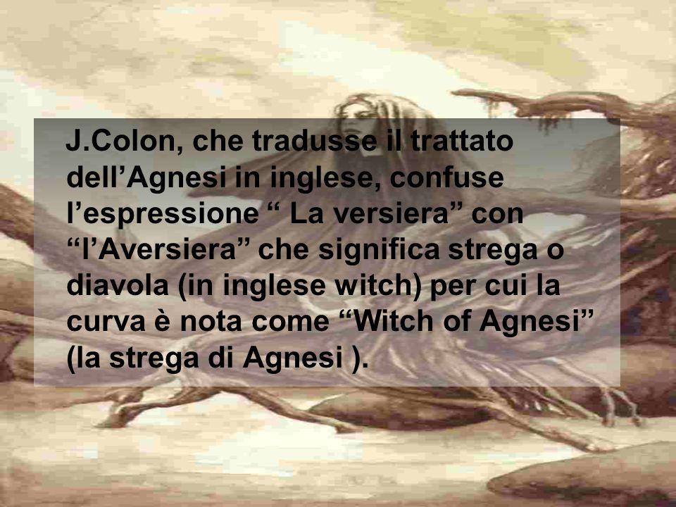 LA VERSIERA AGNESI In uno dei volumi di Istituzioni analitiche viene presentata la discussione di una particolare curva, nota come Versiera o lemniscata di Agnesi,definita come luogo geometrico.