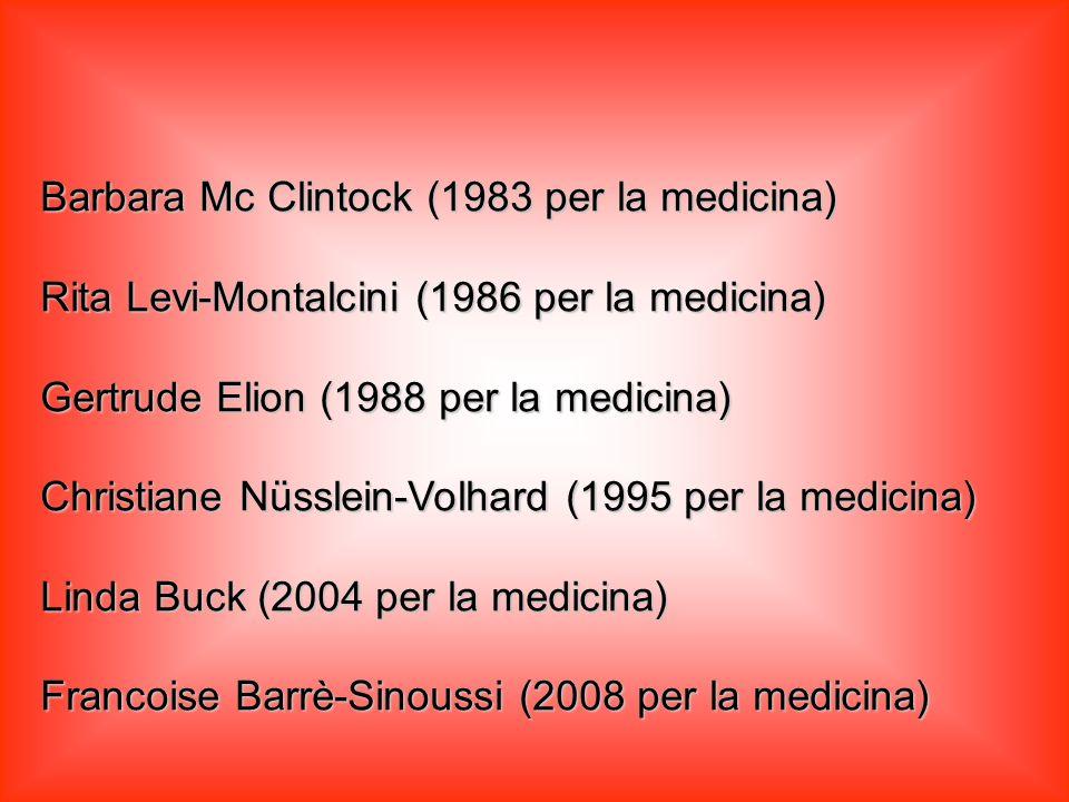 Marie Sklodowska (1903 fisica e 1919 chimica) Irène Curie-Joliot (1935 per la chimica) Gerty Radnitz-Cori (1947 per la medicina) Maria Goeppert-Mayer (1963 per la fisica) Dorothy Crowfoot-Hodgkin (1964 chimica) Rosalyn Sussman-Yalow (1977 per la medicina)