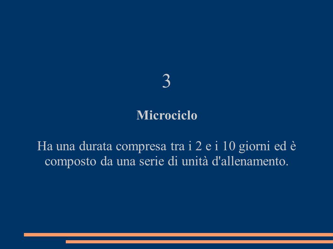 3 Microciclo Ha una durata compresa tra i 2 e i 10 giorni ed è composto da una serie di unità d'allenamento.