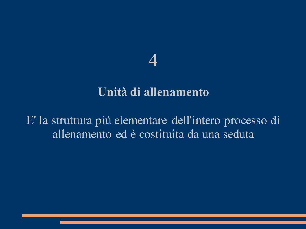 4 Unità di allenamento E' la struttura più elementare dell'intero processo di allenamento ed è costituita da una seduta