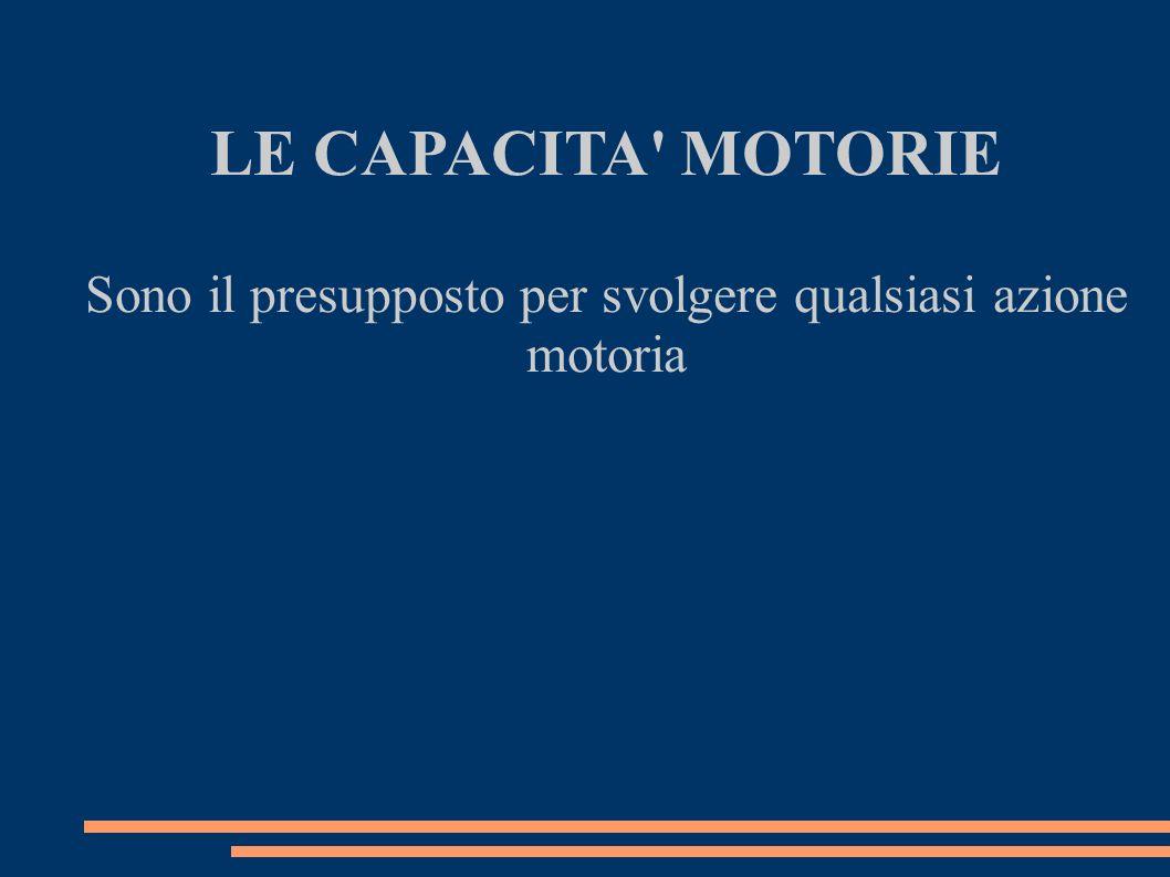 LE CAPACITA' MOTORIE Sono il presupposto per svolgere qualsiasi azione motoria