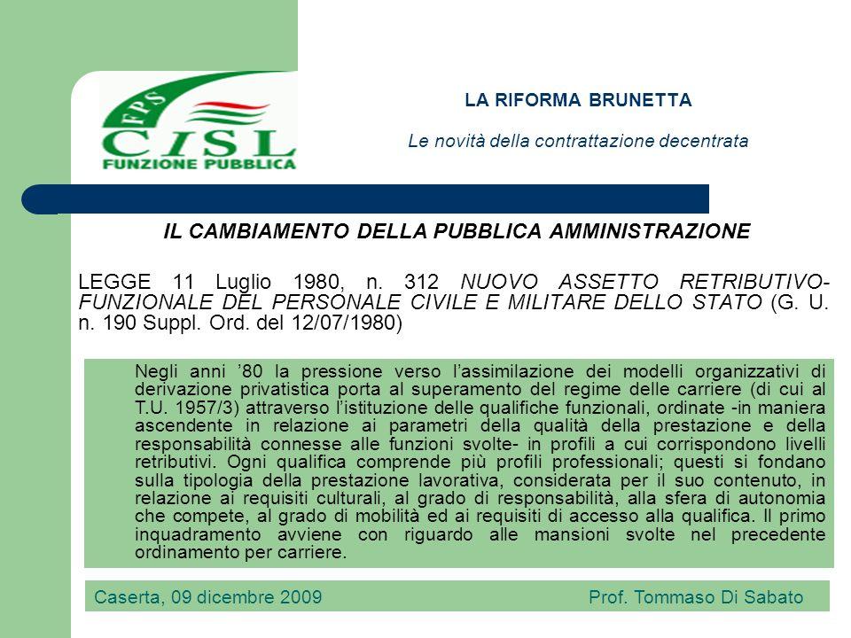 LA RIFORMA BRUNETTA Le novità della contrattazione decentrata LEGGE 29 marzo 1983, n.