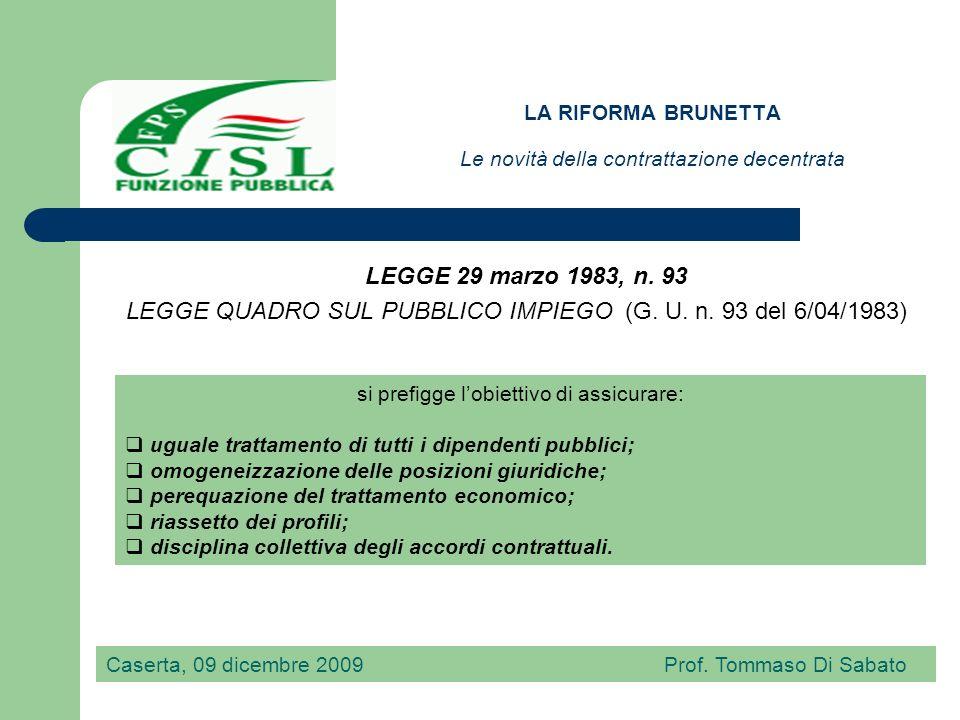 LA RIFORMA BRUNETTA Le novità della contrattazione decentrata Nel Decreto legislativo 30 marzo 2001, n.