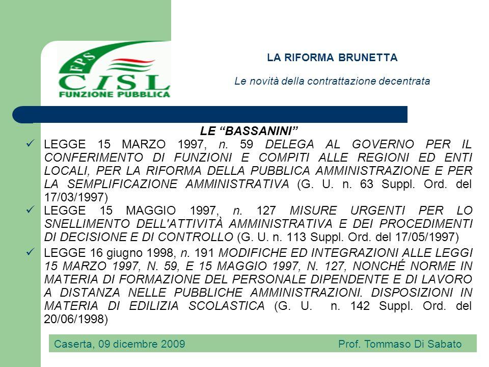 LA RIFORMA BRUNETTA Le novità della contrattazione decentrata I DECRETI LEGISLATIVI CHE HANNO MODIFICATO IL D.Lgs 29/1993 DECRETO LEGISLATIVO 31 marzo 1998, n.