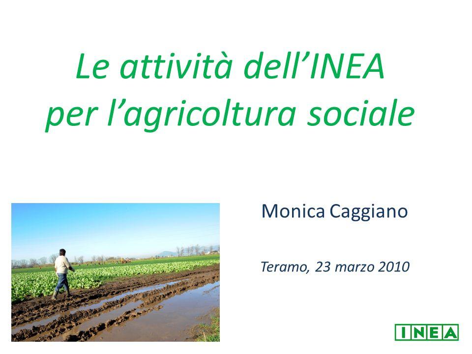 Le attività dellINEA per lagricoltura sociale Monica Caggiano Teramo, 23 marzo 2010