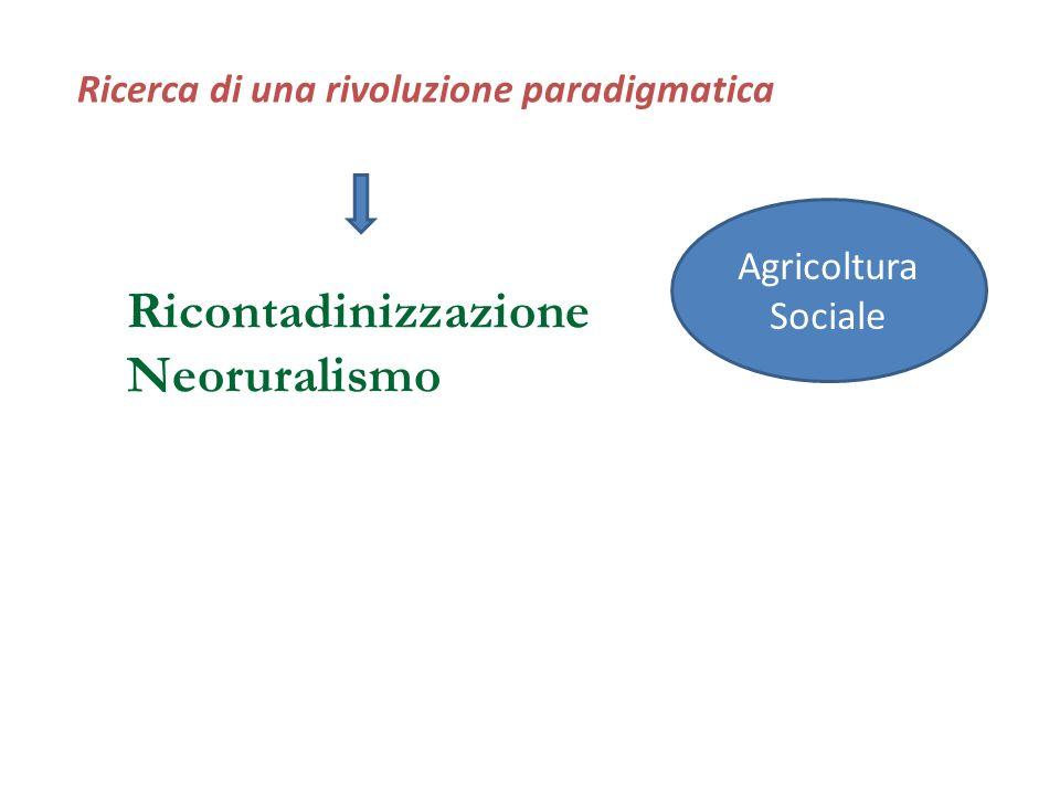 Ricerca di una rivoluzione paradigmatica Agricoltura Sociale Ricontadinizzazione Neoruralismo