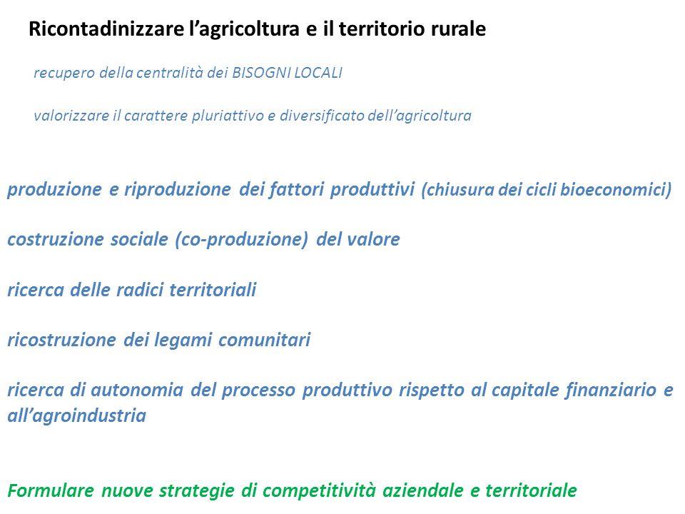 produzione e riproduzione dei fattori produttivi (chiusura dei cicli bioeconomici) costruzione sociale (co-produzione) del valore ricerca delle radici