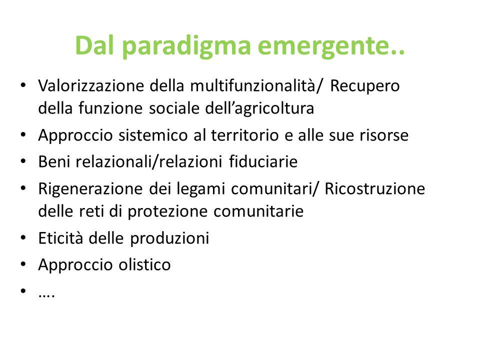 Dal paradigma emergente.. Valorizzazione della multifunzionalità/ Recupero della funzione sociale dellagricoltura Approccio sistemico al territorio e