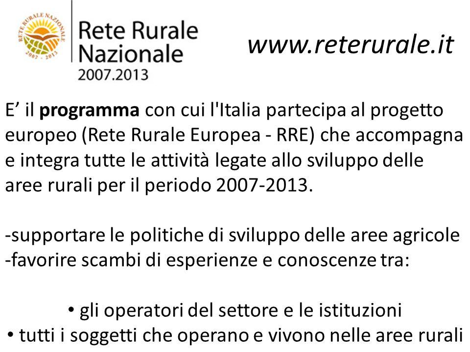 www.reterurale.it E il programma con cui l'Italia partecipa al progetto europeo (Rete Rurale Europea - RRE) che accompagna e integra tutte le attività