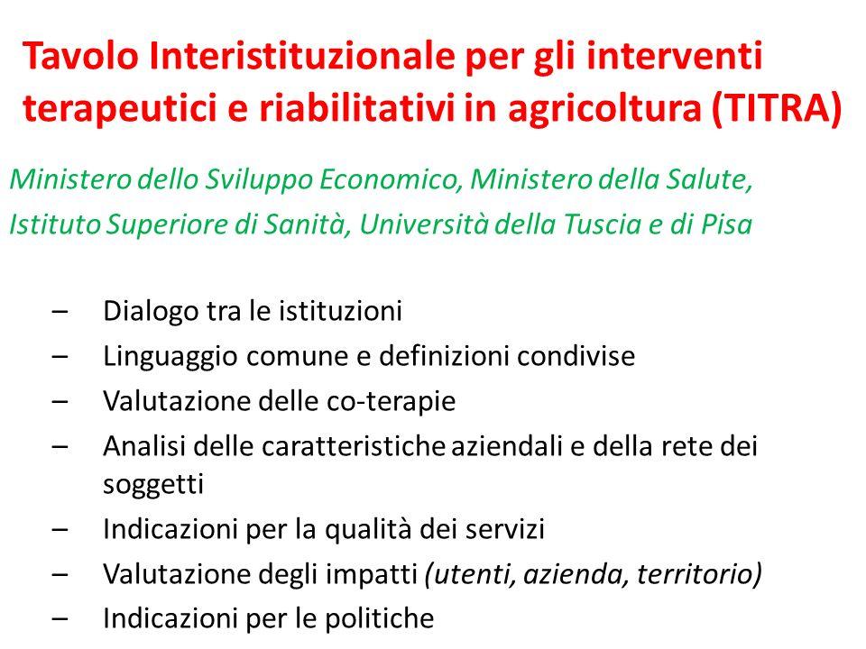 Tavolo Interistituzionale per gli interventi terapeutici e riabilitativi in agricoltura (TITRA) Ministero dello Sviluppo Economico, Ministero della Sa