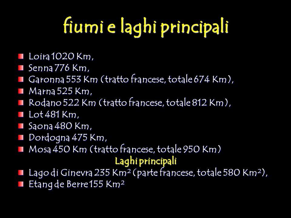 fiumi e laghi principali Loira 1020 Km, Senna 776 Km, Garonna 553 Km (tratto francese, totale 674 Km), Marna 525 Km, Rodano 522 Km (tratto francese, t