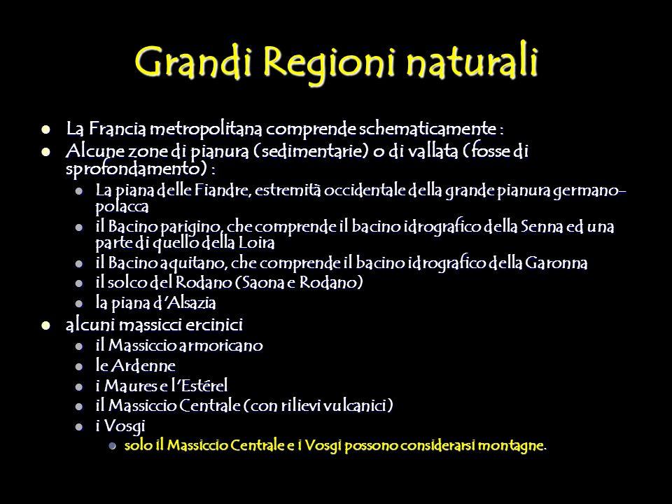 Grandi Regioni naturali La Francia metropolitana comprende schematicamente : La Francia metropolitana comprende schematicamente : Alcune zone di pianu