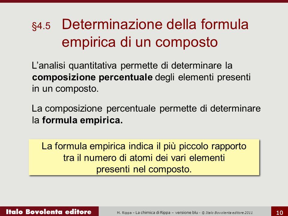 M. Rippa – La chimica di Rippa – versione blu - © Italo Bovolenta editore 2011 10 La composizione percentuale permette di determinare la formula empir