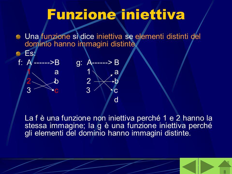 Funzione iniettiva Una funzione si dice iniettiva se elementi distinti del dominio hanno immagini distinte. Es: f: A ------>B g: A------> B 1 a 1 a 2