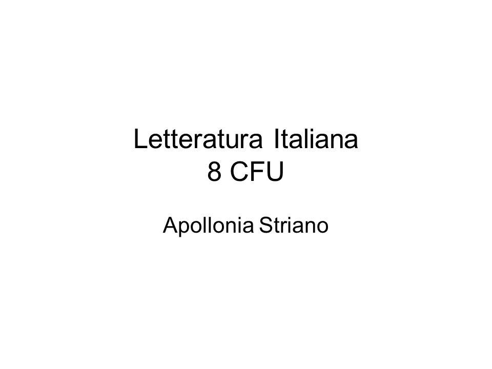 Letteratura Italiana 8 CFU Apollonia Striano