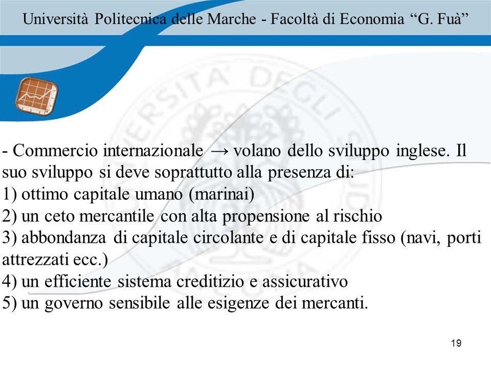 19 - Commercio internazionale volano dello sviluppo inglese.