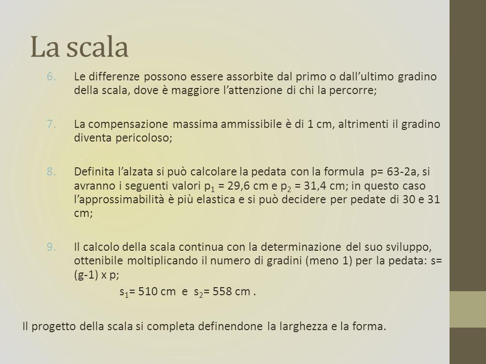 La scala 6.Le differenze possono essere assorbite dal primo o dallultimo gradino della scala, dove è maggiore lattenzione di chi la percorre; 7.La compensazione massima ammissibile è di 1 cm, altrimenti il gradino diventa pericoloso; 8.Definita lalzata si può calcolare la pedata con la formula p= 63-2a, si avranno i seguenti valori p 1 = 29,6 cm e p 2 = 31,4 cm; in questo caso lapprossimabilità è più elastica e si può decidere per pedate di 30 e 31 cm; 9.Il calcolo della scala continua con la determinazione del suo sviluppo, ottenibile moltiplicando il numero di gradini (meno 1) per la pedata: s= (g-1) x p; s 1 = 510 cm e s 2 = 558 cm.