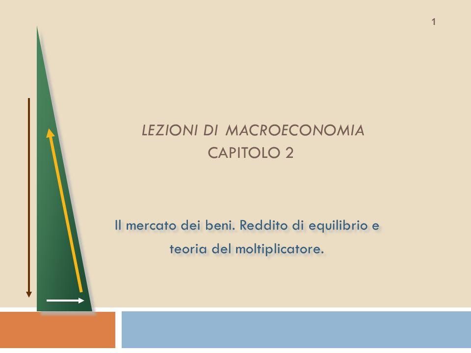 LEZIONI DI MACROECONOMIA CAPITOLO 2 Il mercato dei beni. Reddito di equilibrio e teoria del moltiplicatore. Il mercato dei beni. Reddito di equilibrio