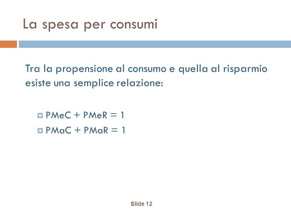 Slide 12 La spesa per consumi Tra la propensione al consumo e quella al risparmio esiste una semplice relazione: PMeC + PMeR = 1 PMaC + PMaR = 1