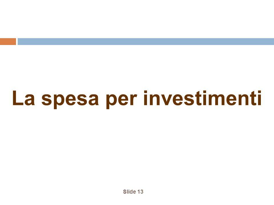 Slide 13 La spesa per investimenti