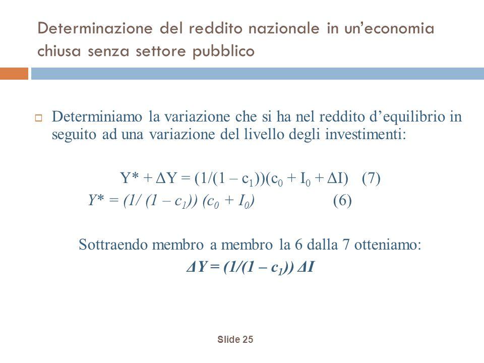 Slide 25 Determinazione del reddito nazionale in uneconomia chiusa senza settore pubblico Determiniamo la variazione che si ha nel reddito dequilibrio in seguito ad una variazione del livello degli investimenti: Y* + ΔY = (1/(1 – c 1 ))(c 0 + I 0 + ΔI) (7) Y* = (1/ (1 – c 1 )) (c 0 + I 0 ) (6) Sottraendo membro a membro la 6 dalla 7 otteniamo: ΔY = (1/(1 – c 1 )) ΔI